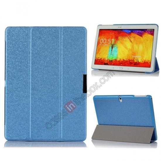 wholesale Silk Pattern 3-Folding Leather Case Cover For Samsung Galaxy Tab Pro 10.1 T520 - Blue