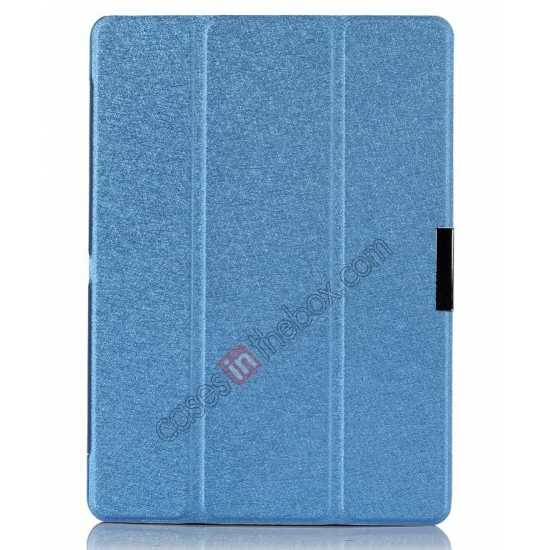 discount Silk Pattern 3-Folding Leather Case Cover For Samsung Galaxy Tab Pro 10.1 T520 - Blue