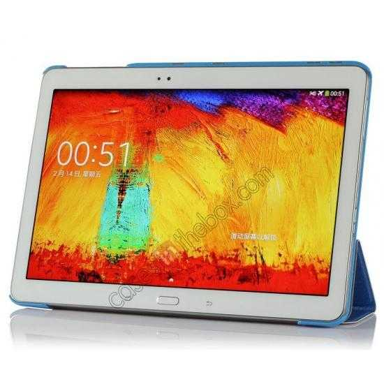 top quality Silk Pattern 3-Folding Leather Case Cover For Samsung Galaxy Tab Pro 10.1 T520 - Blue