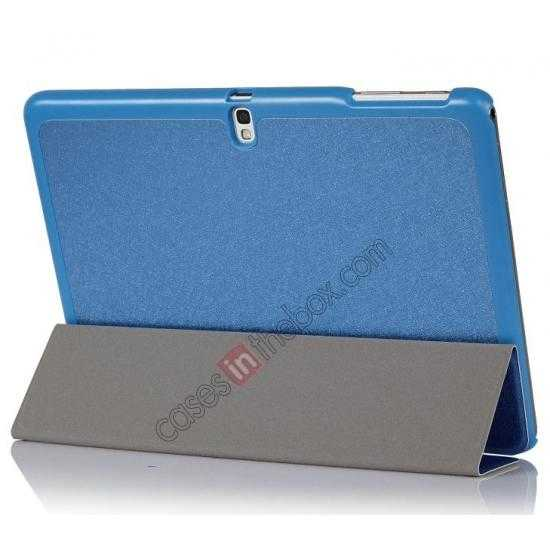 best price Silk Pattern 3-Folding Leather Case Cover For Samsung Galaxy Tab Pro 10.1 T520 - Blue