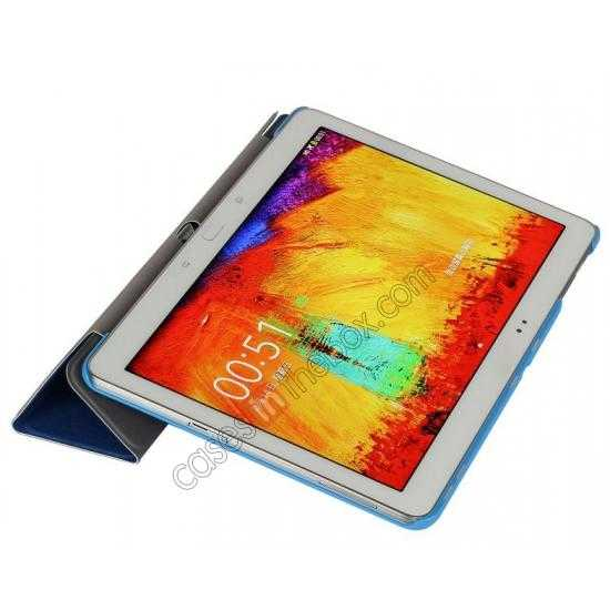 on sale Silk Pattern 3-Folding Leather Case Cover For Samsung Galaxy Tab Pro 10.1 T520 - Blue