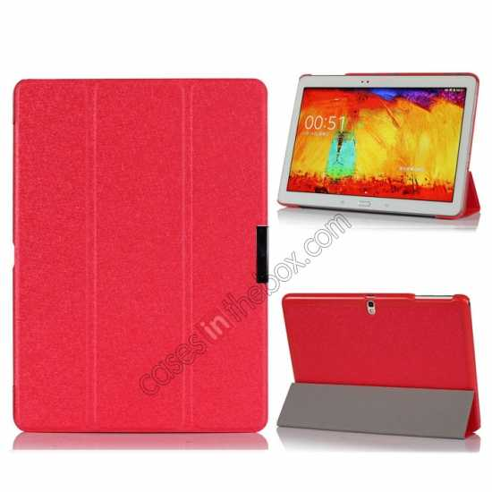 wholesale Silk Pattern 3-Folding Leather Case Cover For Samsung Galaxy Tab Pro 10.1 T520 - Red