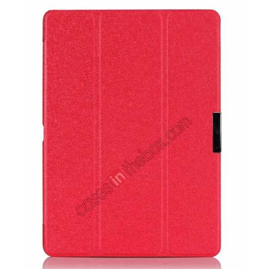 discount Silk Pattern 3-Folding Leather Case Cover For Samsung Galaxy Tab Pro 10.1 T520 - Red