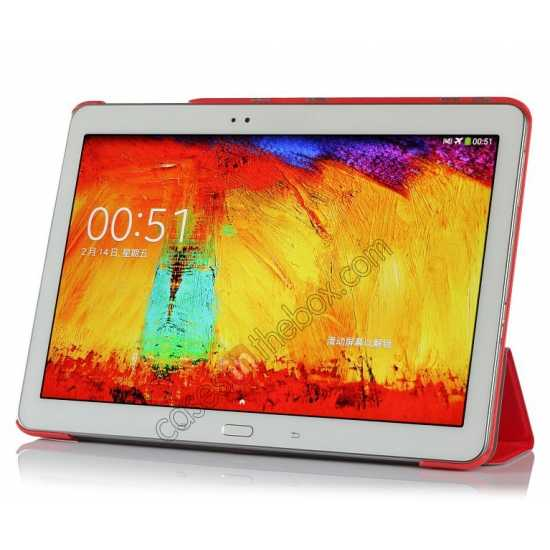 top quality Silk Pattern 3-Folding Leather Case Cover For Samsung Galaxy Tab Pro 10.1 T520 - Red