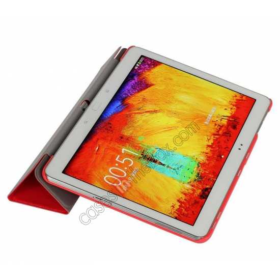 on sale Silk Pattern 3-Folding Leather Case Cover For Samsung Galaxy Tab Pro 10.1 T520 - Red