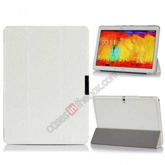 wholesale Silk Pattern 3-Folding Leather Case Cover For Samsung Galaxy Tab Pro 10.1 T520 - White
