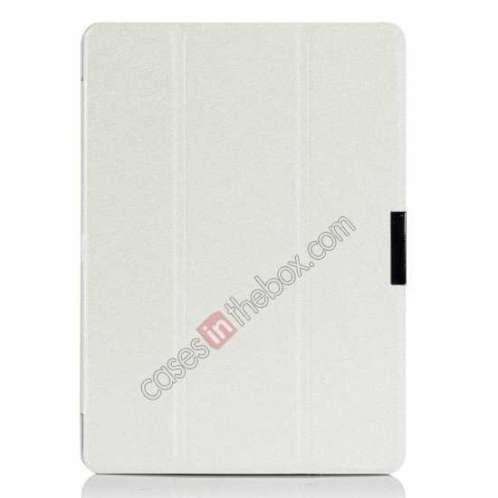 discount Silk Pattern 3-Folding Leather Case Cover For Samsung Galaxy Tab Pro 10.1 T520 - White