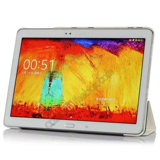 top quality Silk Pattern 3-Folding Leather Case Cover For Samsung Galaxy Tab Pro 10.1 T520 - White