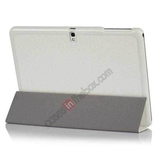 best price Silk Pattern 3-Folding Leather Case Cover For Samsung Galaxy Tab Pro 10.1 T520 - White