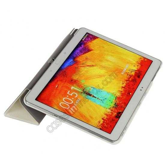 on sale Silk Pattern 3-Folding Leather Case Cover For Samsung Galaxy Tab Pro 10.1 T520 - White