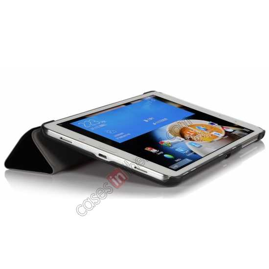 cheap Silk Pattern 3-Folding Leather Case Cover For Samsung Galaxy Tab Pro 8.4 T320 - Black