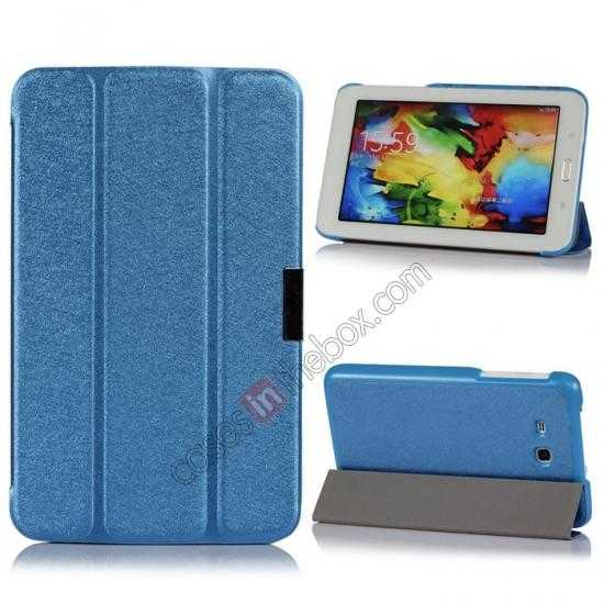 wholesale Smart Ultra-thin Silk pattern Leather Cover Case for Samsung Galaxy Tab3 Lite7/T110 - Blue