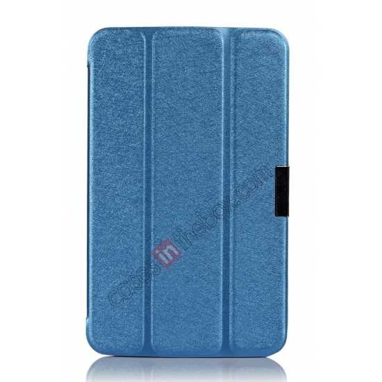 best price Smart Ultra-thin Silk pattern Leather Cover Case for Samsung Galaxy Tab3 Lite7/T110 - Blue