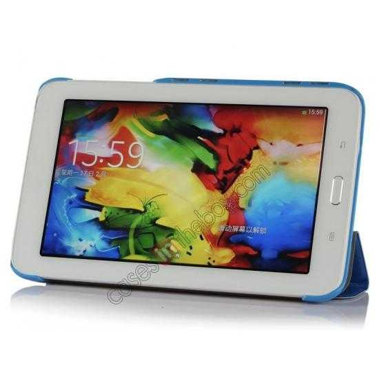 discount Smart Ultra-thin Silk pattern Leather Cover Case for Samsung Galaxy Tab3 Lite7/T110 - Blue