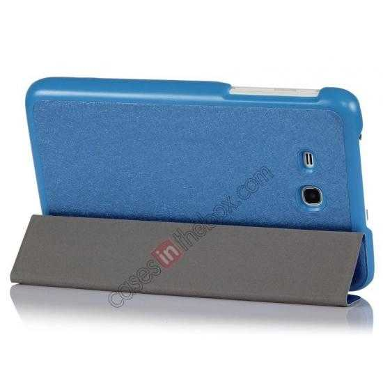 cheap Smart Ultra-thin Silk pattern Leather Cover Case for Samsung Galaxy Tab3 Lite7/T110 - Blue
