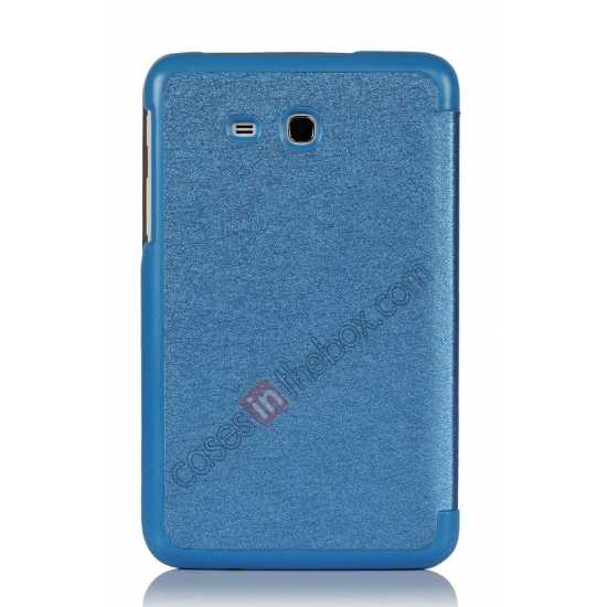 on sale Smart Ultra-thin Silk pattern Leather Cover Case for Samsung Galaxy Tab3 Lite7/T110 - Blue