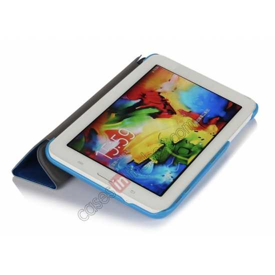 top quality Smart Ultra-thin Silk pattern Leather Cover Case for Samsung Galaxy Tab3 Lite7/T110 - Blue