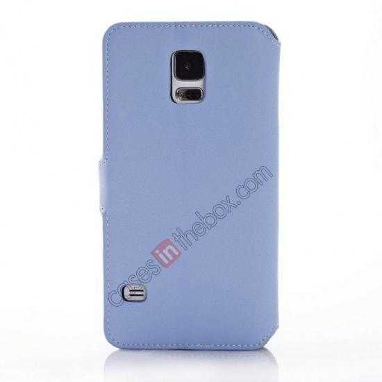 cheap South Korea Pattern Wallet Leather Stand Case for Samsung Galaxy S5 G900 - Blue