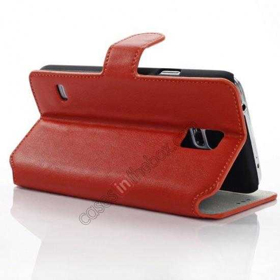 wholesale South Korea Pattern Wallet Leather Stand Case for Samsung Galaxy S5 G900 - Orange