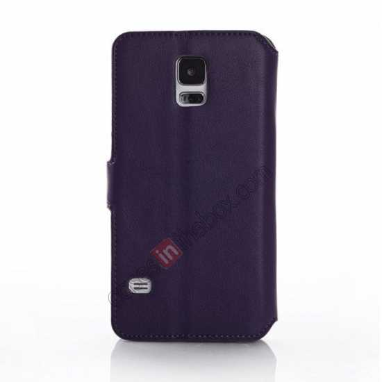 top quality South Korea Pattern Wallet Leather Stand Case for Samsung Galaxy S5 G900 - Purple