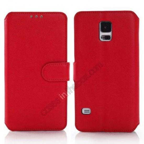 discount South Korea Pattern Wallet Leather Stand Case for Samsung Galaxy S5 G900 - Red