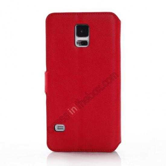top quality South Korea Pattern Wallet Leather Stand Case for Samsung Galaxy S5 G900 - Red