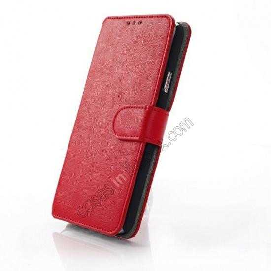 best price South Korea Pattern Wallet Leather Stand Case for Samsung Galaxy S5 G900 - Red