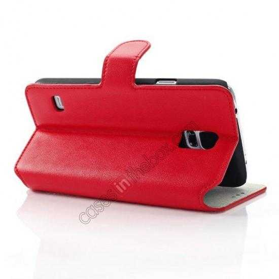 wholesale South Korea Pattern Wallet Leather Stand Case for Samsung Galaxy S5 G900 - Red