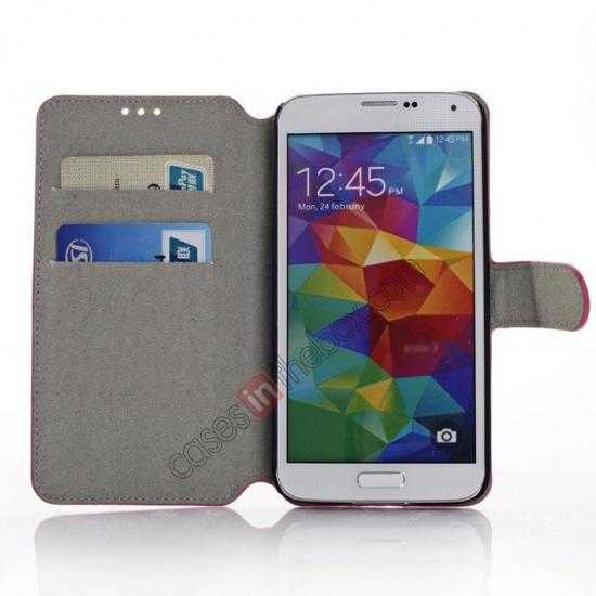 low price South Korea Pattern Wallet Leather Stand Case for Samsung Galaxy S5 G900 - White