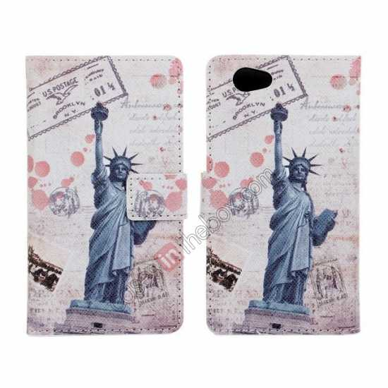wholesale Statue of Liberty Pattern Folio Wallet Leather Case For Sony Xperia Z1 Compact(M51W)