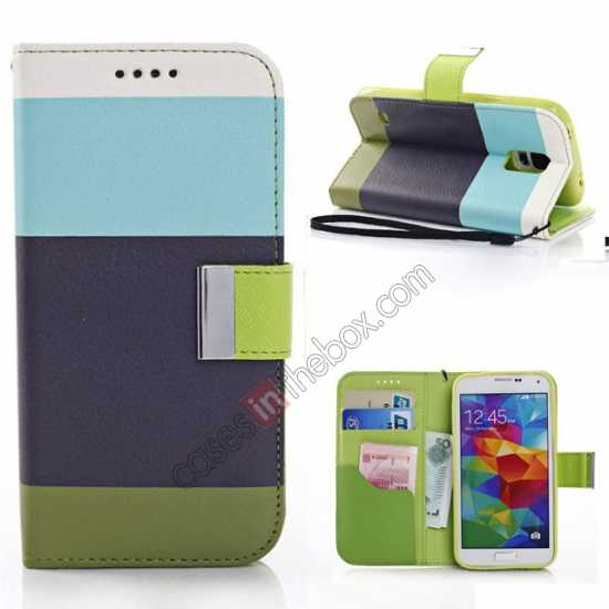 wholesale Three Colors Magnetic Flip Stand Leather Wallet Case for Samsung Galaxy S5 G900 with Card Slots - Blue / Black / Olive Green