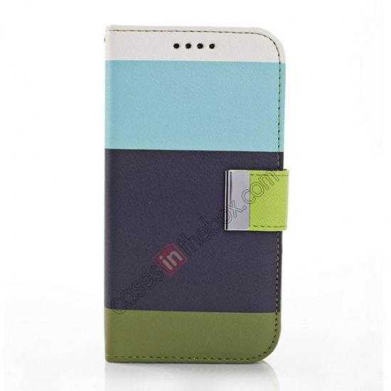 discount Three Colors Magnetic Flip Stand Leather Wallet Case for Samsung Galaxy S5 G900 with Card Slots - Blue / Black / Olive Green