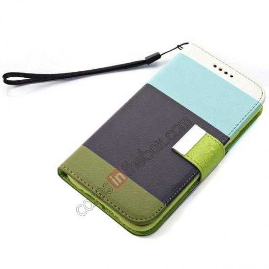 best price Three Colors Magnetic Flip Stand Leather Wallet Case for Samsung Galaxy S5 G900 with Card Slots - Blue / Black / Olive Green