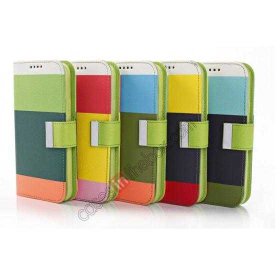china wholesale Three Colors Magnetic Flip Stand Leather Wallet Case for Samsung Galaxy S5 G900 with Card Slots - Blue / Black / Olive Green