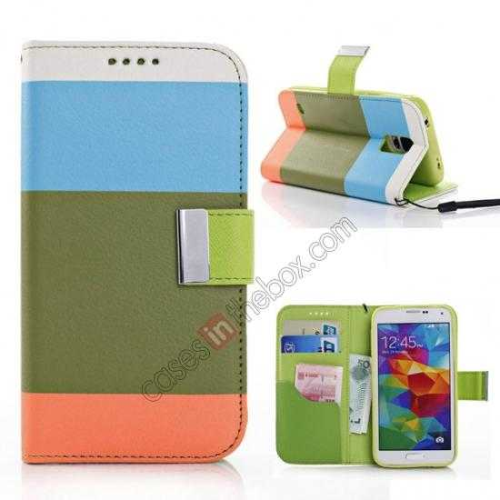 wholesale Three Colors Magnetic Flip Stand Leather Wallet Case for Samsung Galaxy S5 G900 with Card Slots - Blue / Green / Orange