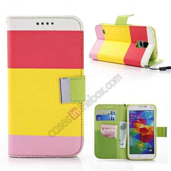wholesale Three Colors Magnetic Flip Stand Leather Wallet Case for Samsung Galaxy S5 G900 with Card Slots - Red / Yellow / Pink