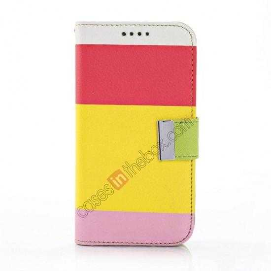 discount Three Colors Magnetic Flip Stand Leather Wallet Case for Samsung Galaxy S5 G900 with Card Slots - Red / Yellow / Pink