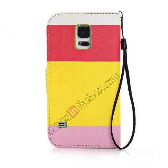 cheap Three Colors Magnetic Flip Stand Leather Wallet Case for Samsung Galaxy S5 G900 with Card Slots - Red / Yellow / Pink