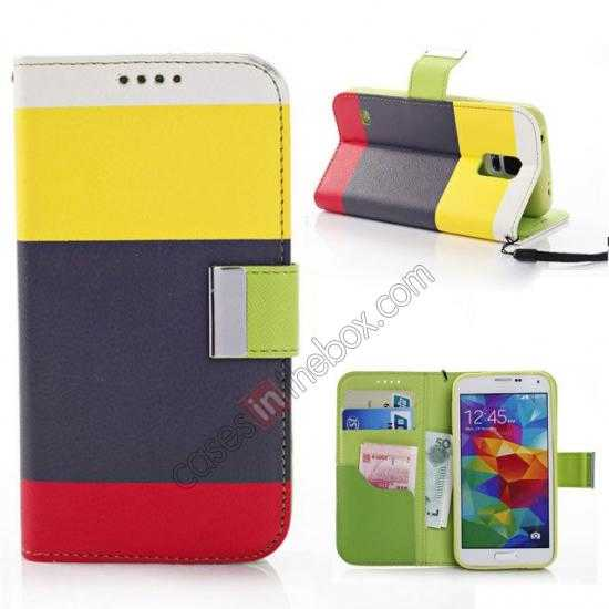wholesale Three Colors Magnetic Flip Stand Leather Wallet Case for Samsung Galaxy S5 G900 with Card Slots -  Yellow / Black / Red