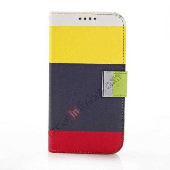 discount Three Colors Magnetic Flip Stand Leather Wallet Case for Samsung Galaxy S5 G900 with Card Slots -  Yellow / Black / Red