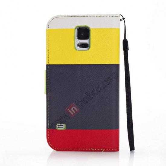 cheap Three Colors Magnetic Flip Stand Leather Wallet Case for Samsung Galaxy S5 G900 with Card Slots -  Yellow / Black / Red