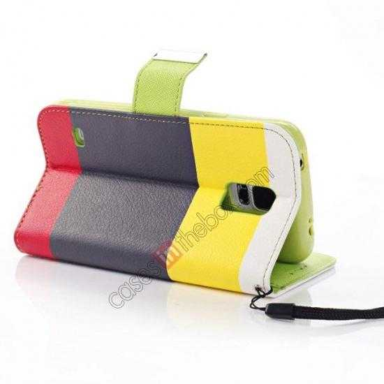 top quality Three Colors Magnetic Flip Stand Leather Wallet Case for Samsung Galaxy S5 G900 with Card Slots -  Yellow / Black / Red