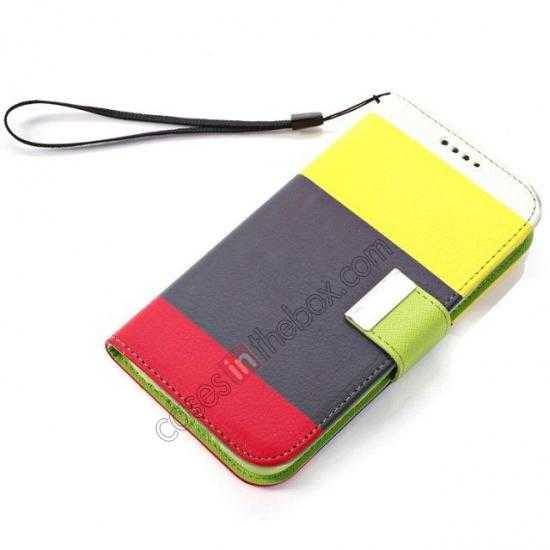 best price Three Colors Magnetic Flip Stand Leather Wallet Case for Samsung Galaxy S5 G900 with Card Slots -  Yellow / Black / Red