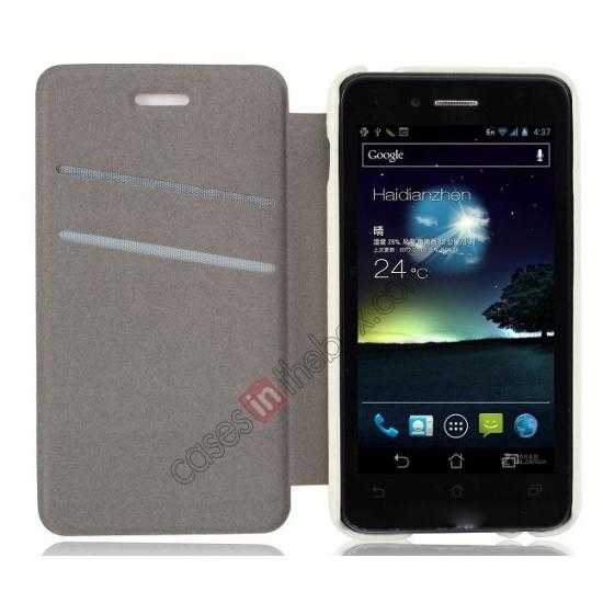 cheap Ultra Slim Leather Wallet Case Cover for ASUS PadFone Mini 4.3 inch - White