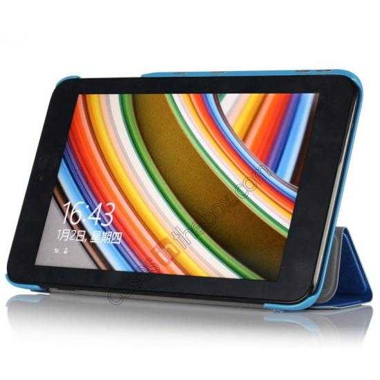 cheap Ultra Slim Tri Fold Leather Case Cover for ASUS VivoTab Note8 M80TA - Blue