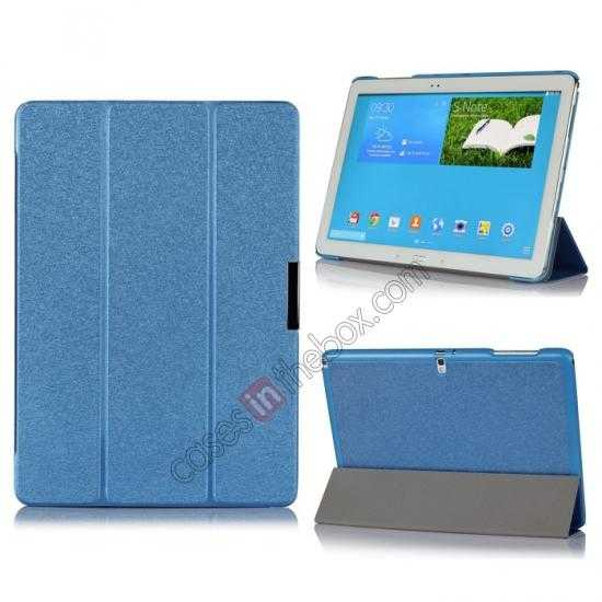 wholesale Ultra Slim Tri Fold Leather Case Cover for Samsung Galaxy Note Pro 12.2 P900 - Blue