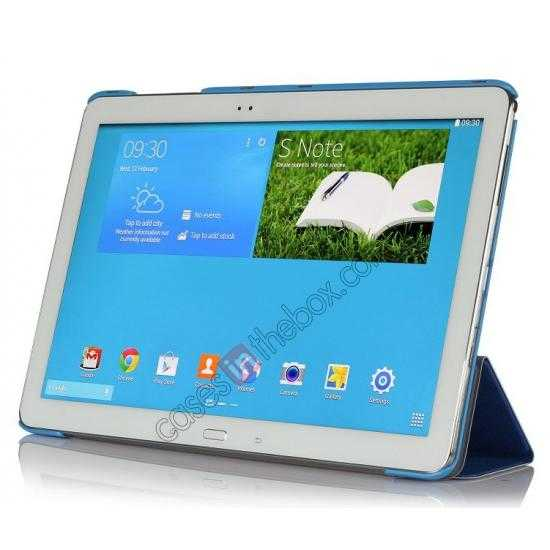 discount Ultra Slim Tri Fold Leather Case Cover for Samsung Galaxy Note Pro 12.2 P900 - Blue