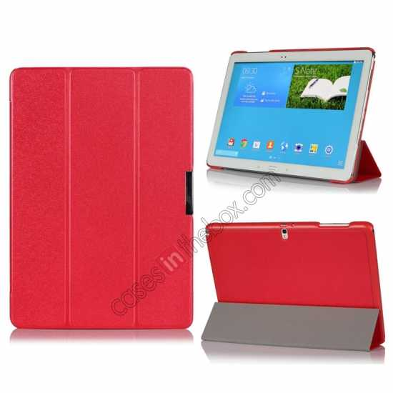 wholesale Ultra Slim Tri Fold Leather Case Cover for Samsung Galaxy Note Pro 12.2 P900 - Red