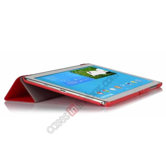top quality Ultra Slim Tri Fold Leather Case Cover for Samsung Galaxy Note Pro 12.2 P900 - Red