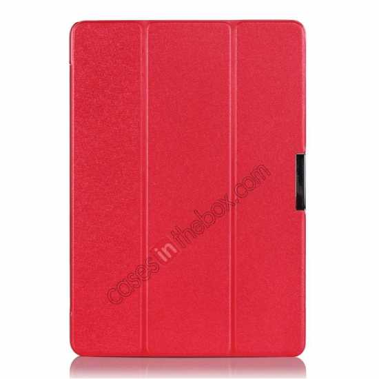 best price Ultra Slim Tri Fold Leather Case Cover for Samsung Galaxy Note Pro 12.2 P900 - Red
